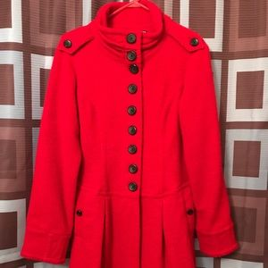 KENSIE RED WOOL PEACOAT SZ M